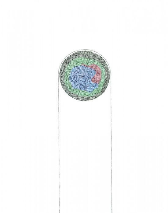 Arc 3 Acrylic on vellum. 14 x 11 in.