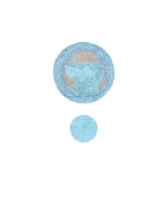 Satellite 10 Acrylic on vellum. 17 x 14 in.