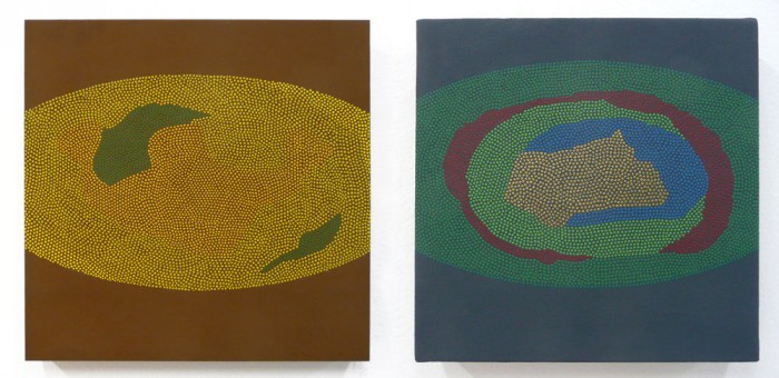 Oval 1, Oval 2 Flashe and acrylic gouache on canvas and panel. 8x8 in. each