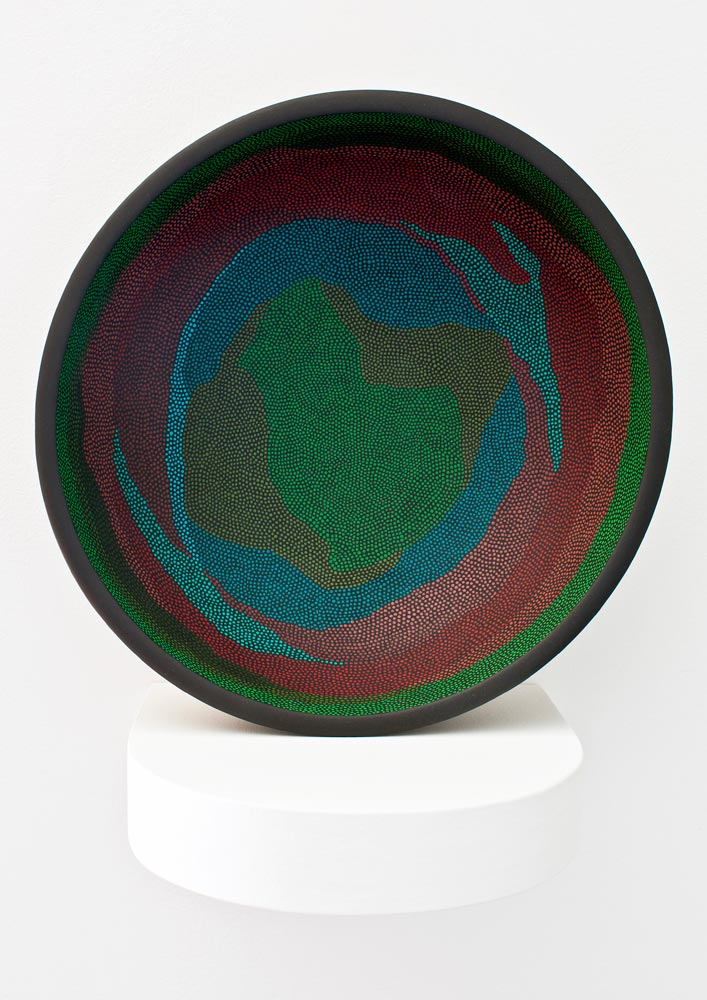 Basin 1 Acrylic on found object (wooden bowl). 9.75 (diameter) x 3.5 in. (height)