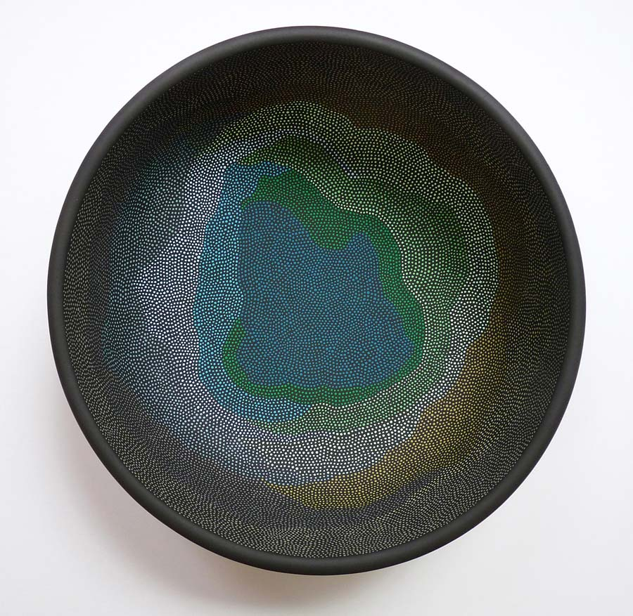 Basin 2 Acrylic on found object (wooden bowl). 10.5 (diameter) x 4.5 in. (height)