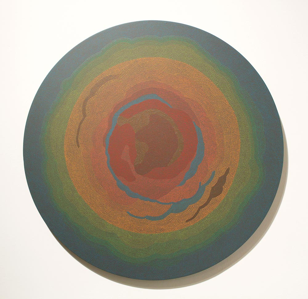 Crust Flashe and acrylic gouache on panel. 20 in. diameter