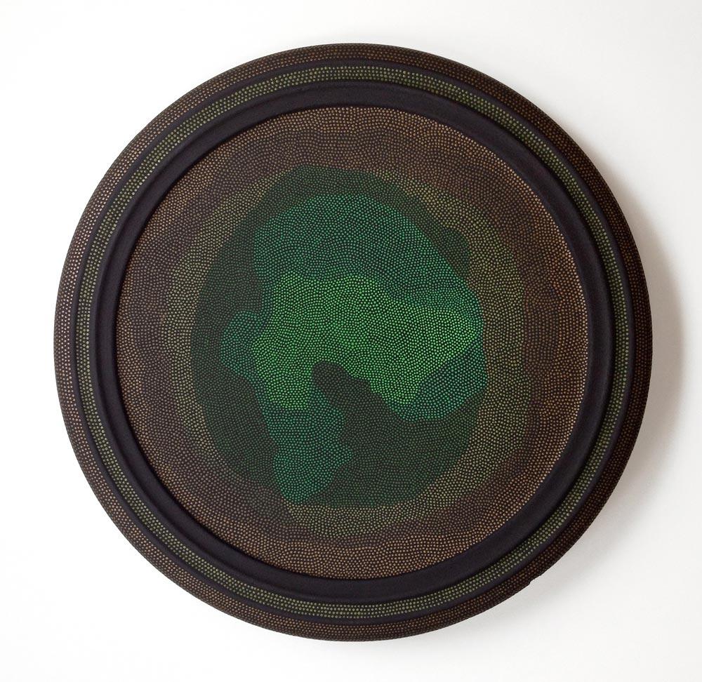 Orbit 3 Acrylic on found object (lazy susan). 14 (diameter) x 1.75 in. (height)