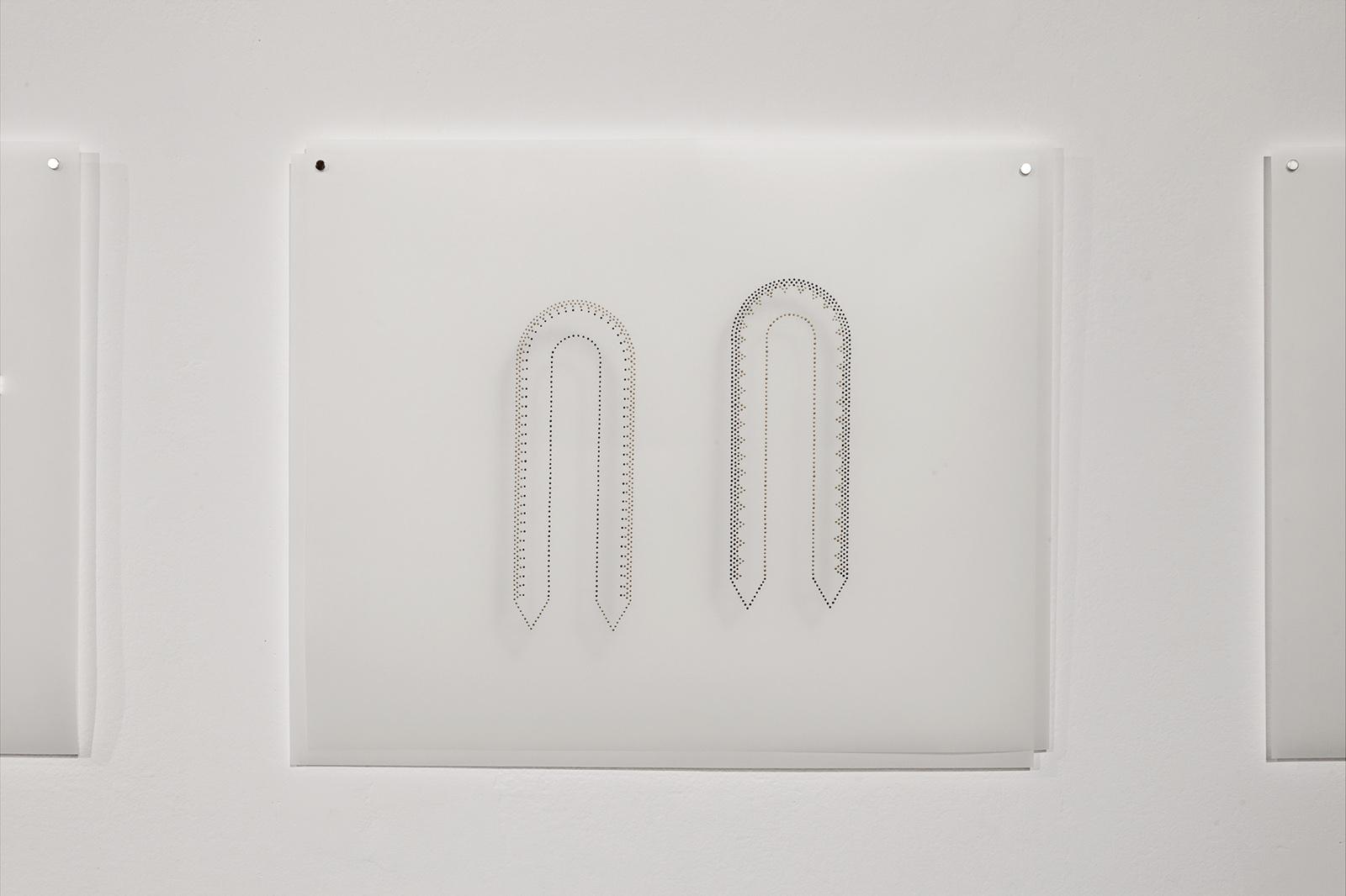 """Garlanding #5"". From the Garlanding series. 2018-2019. Acrylic gouache on vellum. 14 x 17 inches each."