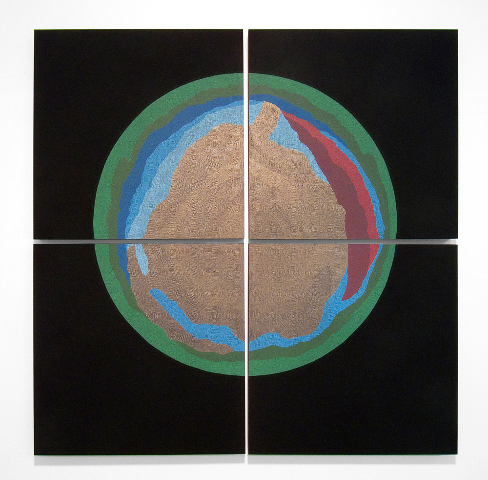 Pieced Orb Flashe and acrylic gouache on panels. 41 x 41 in.