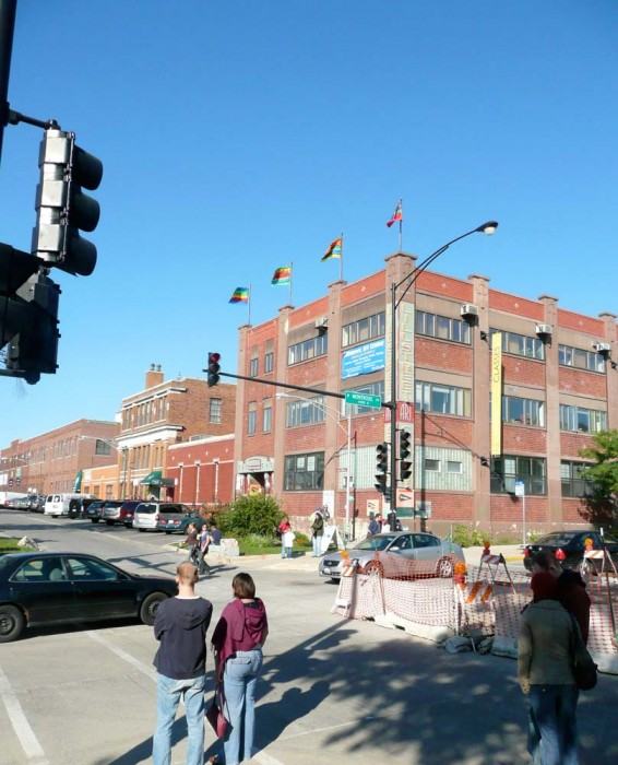 Outside In series of 4 flags installed on rooftop of Lillstreet Art Center, Chicago, IL, 2008